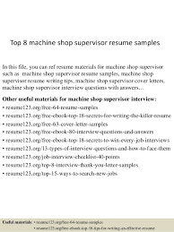 top 8 machine shop supervisor resume samples in this file you can ref resume materials supervisor resume sample