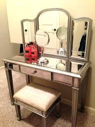 glass vanity set makeup bedroom distressed silver tone table dresser with milk