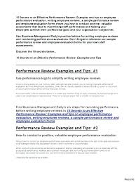 Employee Comments On Performance Evaluation Performance Appraisals Samples Employee Performance Review