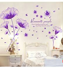 >amazon sworna nature series 3d romantic purple flowers  amazon sworna nature series 3d romantic purple flowers removable vinyl diy mural wall decor decals for living room bedroom hallway sitting