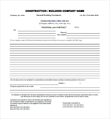 Contract Bid Proposal Contractor Bid Proposal Forms Classy Template Free Design Ideas