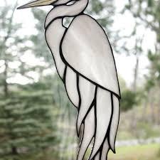 white egret stained glass bird large suncatcher panel