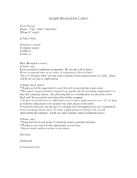 cover letter example of a letter of resignation two weeks notice cover letter sample letters of resignation resignation letter example due to example of