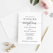 Printable Wedding Reception Invitation Template Evening Reception