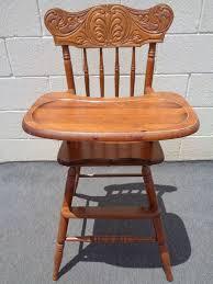 retro baby furniture. vintage wood carved back furniture oak high chair highchair retro baby