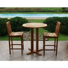 teak bistro table and chairs. 3-piece High Stools Teak Bistro Set Table And Chairs E