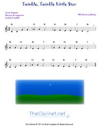 Clarinet Finger Chart Mary Had A Little Lamb Twinkle Twinkle Little Star For Clarinet Free Sheet Music