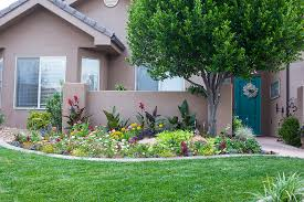 Backyard, Surprising Green Rectangle Rustic Grass Front Yard Flower Beds  Ornamental Big Tree And Flowers