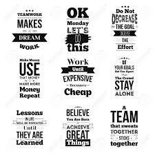 Set Of Inspirational Quotes About Work And Team Vector Design