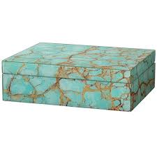 Decorative Hinged Boxes Turquoise Pebble Gold Leaf Decorative Hinged Box Scenario Home 2