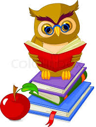 cartoon wise owl sitting on pile book and red apple stock vector colourbox