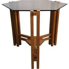 glass hexagon side table dutch 1960s