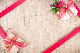 Gifts Background Two Christmas Gifts With Red Tapes Over Sackcloth Texture