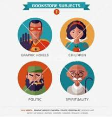 book subjects flat icons and characters vector by ma rish on vectorstock