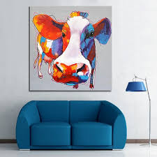 Free shipping cow oil painting on the wall painting pictures bull lacquer  art of abstract decoration