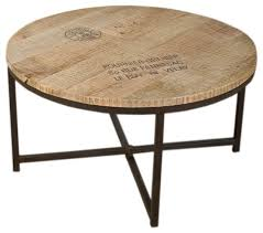 nach industrial style wood round coffee table