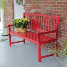 wooden outdoor furniture painted. Red Painted Wooden Front Porch Bench With Cutout Back Details At Brown Brick Wall On White Outdoor Deck Furniture E