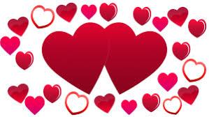 two hearts background plenty of love hearts