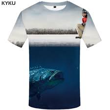 <b>KYKU Fish 3d T</b> Shirt Men Hip Hop Tshirt Fisherman Tropical Print T ...