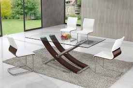 stylish chairs for glass dining table with skorpio glass dining table with black amari dining chairs
