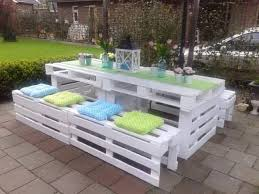 White pallet picnic table and benches