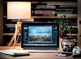 laptop office desk. laptop desk scene computer business office w