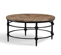 parquet round coffee table pottery barn glass metal base