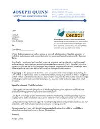sample cover letter system administrator network administrator cover letter sample cover letter central