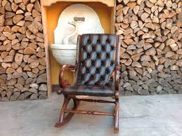 Vintage Chesterfield <b>rocking chair</b> in <b>genuine brown</b> leather