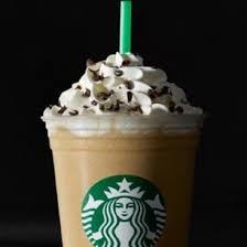 frappuccino roast coffee white chocolate sauce and peppermint flavored syrup are blended with milk and ice and topped with sweetened whipped cream and