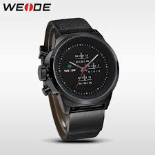 gifts for men picture more detailed picture about weide left weide left handed watches black mens military army watch genuine leather strap stainless steel back 30m