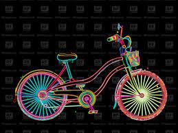 Bike Neon Lights Retro Ladies Bicycle In Neon Lights Stock Vector Image