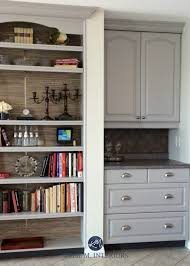 benjamin moore baltic gray painted oak cabinets with beige tiled floor backsplash kylie m