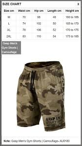 Gasp Clothing Size Chart Gasp Mens Gym Shorts Camouflage Au0180 Factory Direct