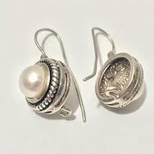 vtg 925 sterling silver and pearl earrings elegant art deco ho