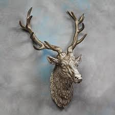 large deer stag head wall mount antique silver