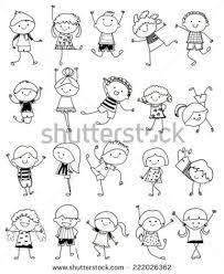 Group Of Kidsdrawing Sketch かわいいボールペン 子ども イラスト