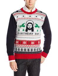 Ugly Christmas Sweater Men's Jesus B-Day Sweater at Amazon Men's ...