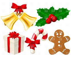 Set of Christmas decoration bells made with gradient mesh Royalty Free  Vector Clip Art