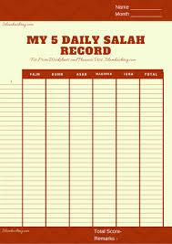 Salah Chart Salah Tracker Calender Free Printable Islam Hashtag