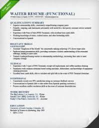 Waiter Functional Resume X Website Photo Gallery Examples Summary Of