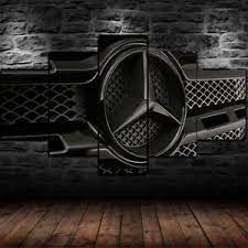 Ver más ideas sobre autos, mercedes clásicos, automoviles. Framed Mercedes Benz Logo Black Poster 5 Piece Canvas Print Wall Art Decor Ebay