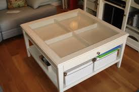 wooden and ikea glass coffee table