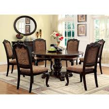 kitchen dining room sets furniture of america oskarre iii brown cherry 7 piece formal round dining set