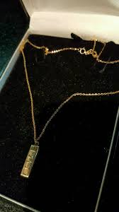 gold ingot pendant and chain