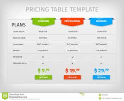 Pricing Template Colorful Comparison Pricing Table Template Stock Vector