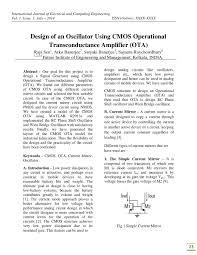 Ota Circuit Design 5 Iisrt Design Of An Oscillator Using Cmos Operational