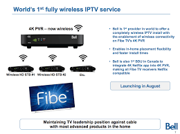 bell reveals k iptv plans in q earnings report mobilesyrup ldquobell will be the first tv provider in the world to offer a completely wireless iptv installation the wireless 4k pvr for fibe tv rdquo reads the release