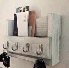 rustic key holder mail organizer white