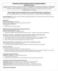 nursing student chronological resume nursing student resume samples